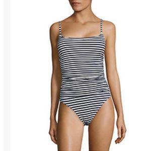 NWT LA BLANCA One Piece Striped Swimsuit